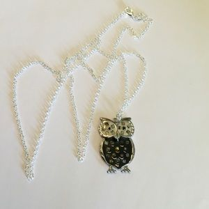 Owl W/ Inlaid Abalone Pendant & 925 Chain